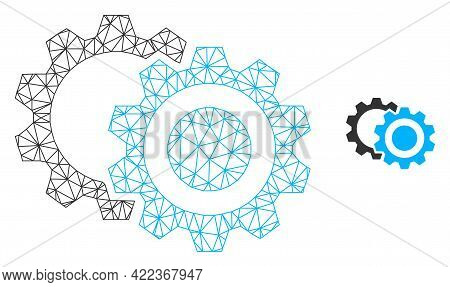 Mesh Vector Gears Image With Flat Icon Isolated On A White Background. Wire Frame Flat Polygonal Lin