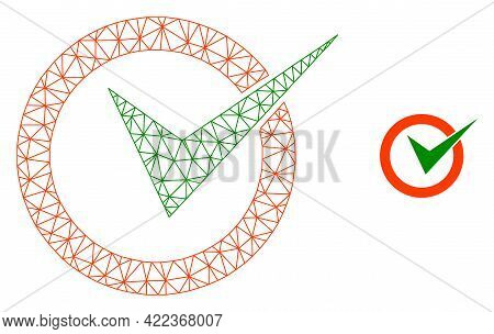 Mesh Vector Checkbox Circle Image With Flat Icon Isolated On A White Background. Wire Frame Flat Pol
