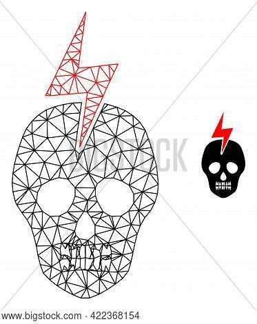Mesh Vector Mortal Electricity Image With Flat Icon Isolated On A White Background. Wire Carcass Fla