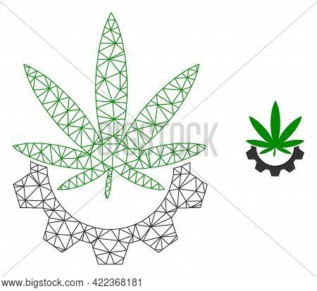 Mesh Vector Cannabis Industry Image With Flat Icon Isolated On A White Background. Wire Frame 2d Tri