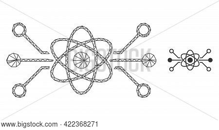 Mesh Vector Quantum Circuit Image With Flat Icon Isolated On A White Background. Wire Carcass 2d Tri