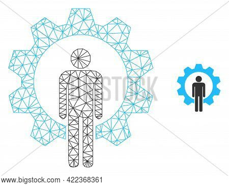 Mesh Vector Human Resources Image With Flat Icon Isolated On A White Background. Wire Frame Flat Pol