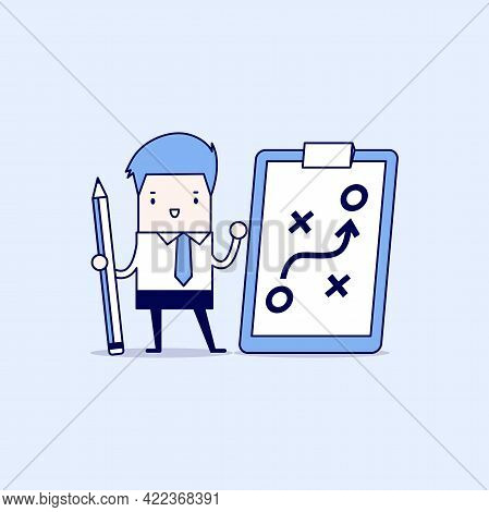 Businessman Holding Pencil And Paper Of Planning Strategy Concept. Business Tactic. Cartoon Characte