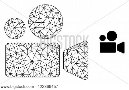Mesh Vector Cinema Camera Image With Flat Icon Isolated On A White Background. Wire Frame Flat Trian