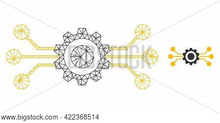 Mesh Vector Hitech Gear Image With Flat Icon Isolated On A White Background. Wire Carcass 2d Triangu