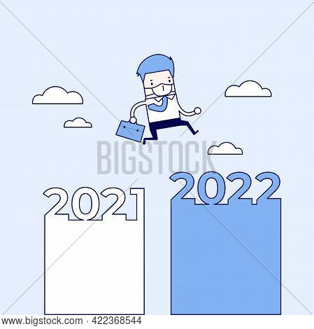 The Masked Businessman Jump From 2021 To 2022. Cartoon Character Thin Line Style Vector.