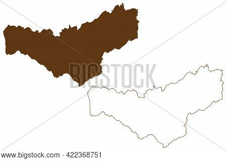 Merzig Wadern District (federal Republic Of Germany, State Of Saarland, Rural District) Map Vector I