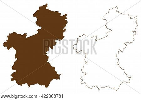 Saarpfalz District (federal Republic Of Germany, State Of Saarland, Rural District) Map Vector Illus
