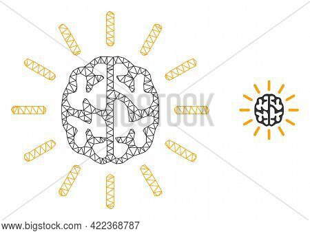 Mesh Vector Mind Light Image With Flat Icon Isolated On A White Background. Wire Carcass 2d Triangul
