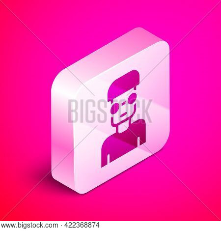 Isometric Nerd Geek Icon Isolated On Pink Background. Silver Square Button. Vector