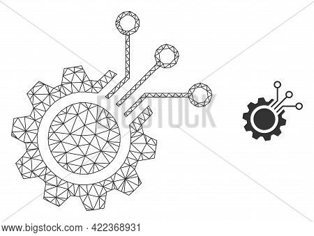 Mesh Vector Electronic Gear Image With Flat Icon Isolated On A White Background. Wire Carcass Flat T