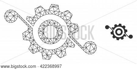 Mesh Vector Gear Solution Image With Flat Icon Isolated On A White Background. Wire Carcass Flat Tri