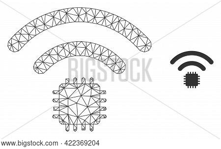 Mesh Vector Radio Sensor Image With Flat Icon Isolated On A White Background. Wire Carcass Flat Tria