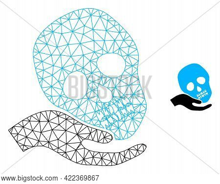 Mesh Vector Hand Holds Skull Image With Flat Icon Isolated On A White Background. Wire Frame Flat Po