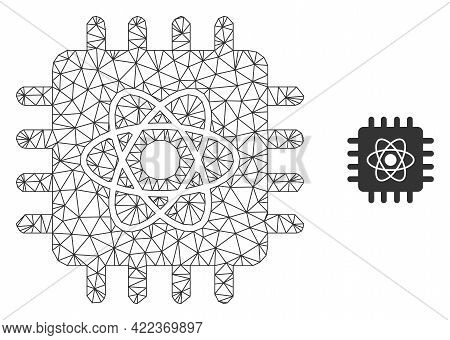 Mesh Vector Quantum Computing Image With Flat Icon Isolated On A White Background. Wire Frame Flat P