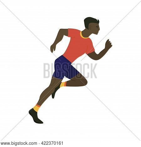 African Man Runner Is Running At High Speed, Athlete Is Taking Part In A Race. Side View. Running Da