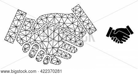 Mesh Vector Handshake Image With Flat Icon Isolated On A White Background. Wire Frame Flat Polygonal