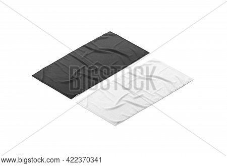 Blaank Black And White Crumpled Big Towel Mockup, Side View, 3d Rendering. Empty Fabric Wiper For Bo