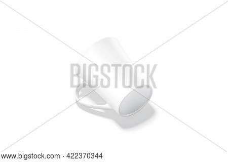 Blank Ceramic Bell-shaped 11oz Mug Mockup Bottom Lying, Isolated, 3d Rendering. Empty Ceramics Tanka