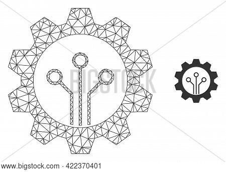 Mesh Vector Gear Sensor Image With Flat Icon Isolated On A White Background. Wire Frame Flat Triangu