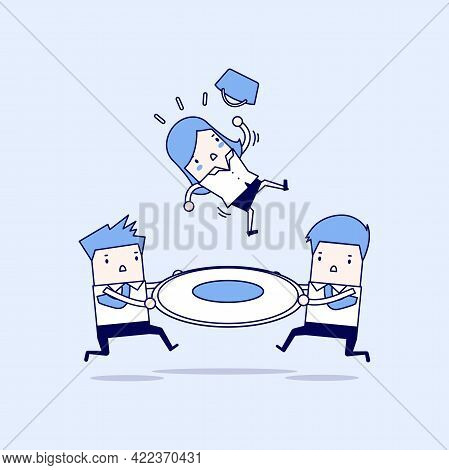 Two Businessmen Help Businesswomen Who Are Falling From Height. Rescue From Risk. Cartoon Character