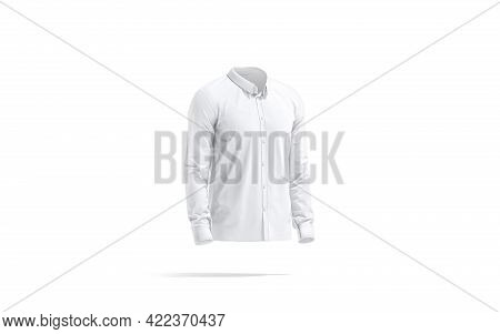 Blank White Classic Shirt Mockup, Side View, 3d Rendering. Empty Elegant Clothing For Dress Code Moc