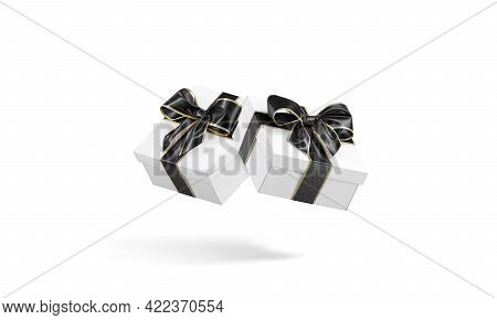 Blank White Gift Box With Black Ribbon Mockup, No Gravity, 3d Rendering. Empty Cardboard Basket With