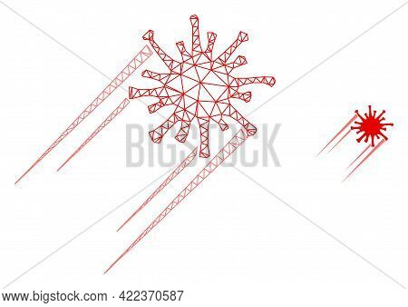 Mesh Vector Rush Covid Virus Image With Flat Icon Isolated On A White Background. Wire Carcass 2d Tr