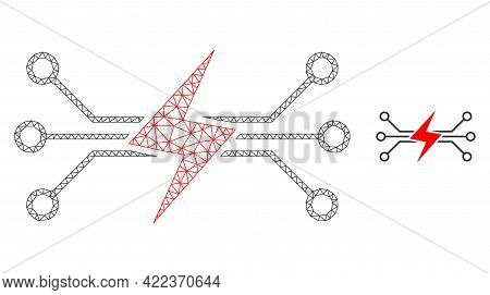 Mesh Vector Energy Circuit Image With Flat Icon Isolated On A White Background. Wire Carcass Flat Po