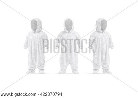 Blank White Kid Plush Jumpsuit With Hood Mockup, Front Side View, 3d Rendering. Empty Childhood Grow