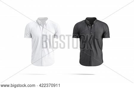 Blank Black And White Short Sleeve Button Down Shirt Mockup, 3d Rendering. Empty Fabric T-shirt With