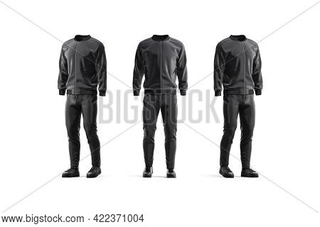 Blank Black Sport Tracksuit Mockup, Front And Side View, 3d Rendering. Empty Jacket, Trackpants And