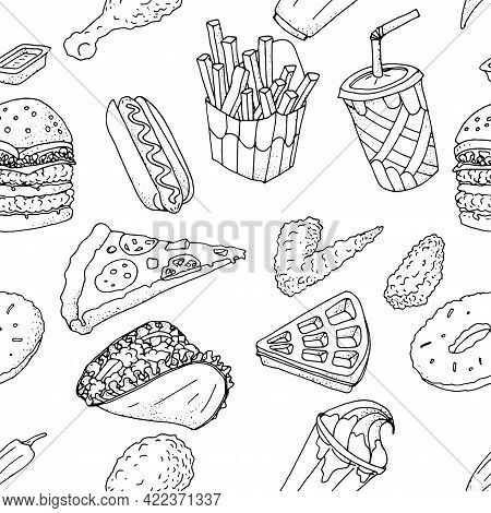 Seamless Pattern Of Hand Drawn Food Doodles . Fast Food Set. Hamburger, French Fries,  Slice Of Pizz
