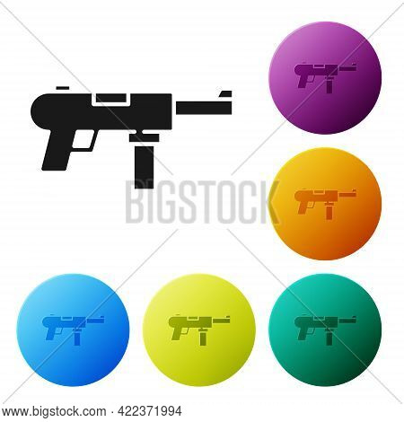 Black Submachine Gun M3, Grease Gun Icon Isolated On White Background. Set Icons In Color Circle But