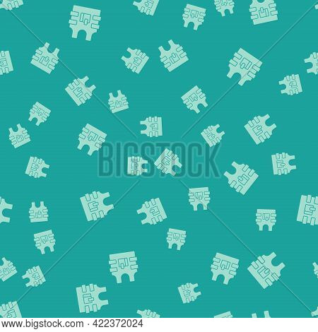 Green Bulletproof Vest For Protection From Bullets Icon Isolated Seamless Pattern On Green Backgroun