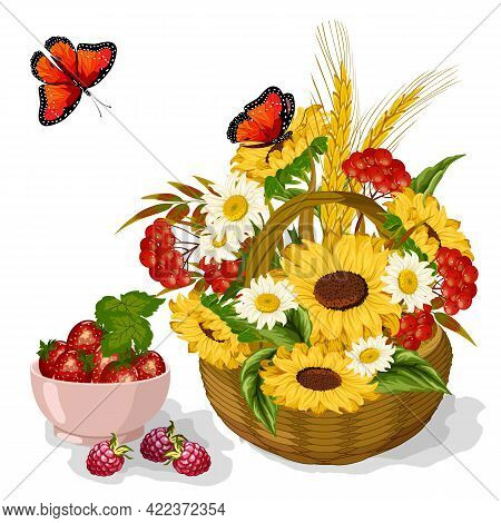 Sunflowers And Berries In The Illustration.basket With Sunflowers And Berries On A White Background