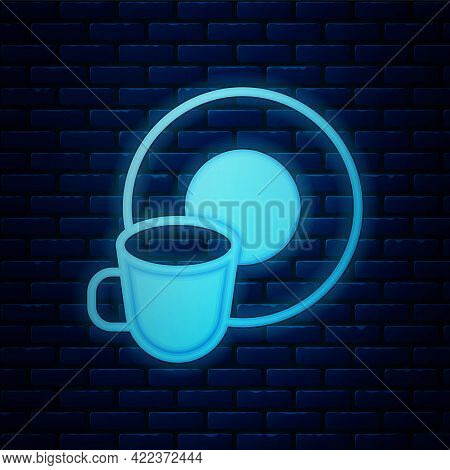 Glowing Neon Washing Dishes Icon Isolated On Brick Wall Background. Cleaning Dishes Icon. Dishwasher
