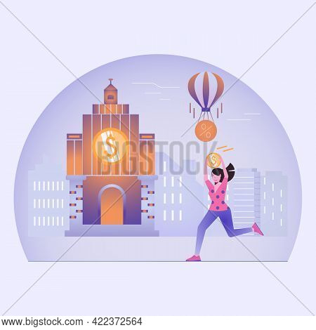 The Girl Carries A Gold Coin To The Building Of The City Bank. Banking, Cash Transactions, Credit, M