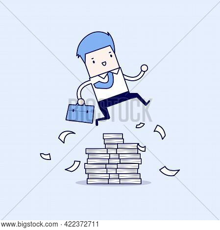 Businessman Or Manager Jumping Over Obstacles. Large Stack Of Documents. Cartoon Character Thin Line