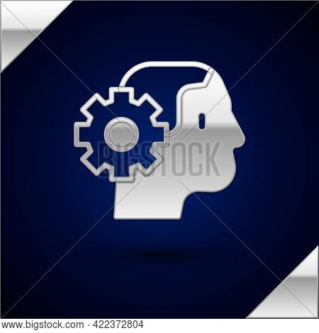 Silver Humanoid Robot Icon Isolated On Dark Blue Background. Artificial Intelligence, Machine Learni