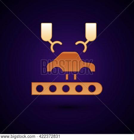 Gold Industrial Machine Robotic Robot Arm Hand On Car Factory Icon Isolated On Black Background. Ind