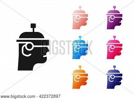 Black Smart Glasses Mounted On Spectacles Icon Isolated On White Background. Wearable Electronics Sm