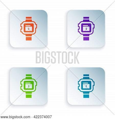Color Wrist Watch Icon Isolated On White Background. Wristwatch Icon. Set Colorful Icons In Square B