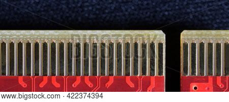 A Fragment Of A Pci-e Express Connector Of A Modern Video Card. Macro. Web Banner. Close-up