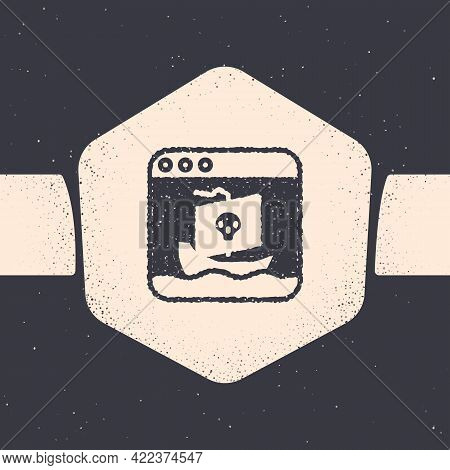 Grunge Internet Piracy Icon Isolated On Grey Background. Online Piracy. Cyberspace Crime With File D
