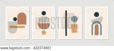 Geometric Trendy Set Of Abstract Aesthetic Minimalist Hand Drawn Contemporary Posters. Modern Art Id
