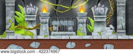 Seamless Game Landscape, Stone Ancient Temple Vector Background, Cartoon Maya Jungle Ruin. Old Aztec