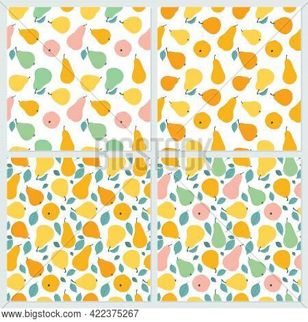A Set Of Seamless Patterns In A Variety Of Colorful Pears And Leaves. Multicolored Pear In Hand Draw