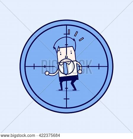 Businessman In Crosshairs. Cartoon Character Thin Line Style Vector.