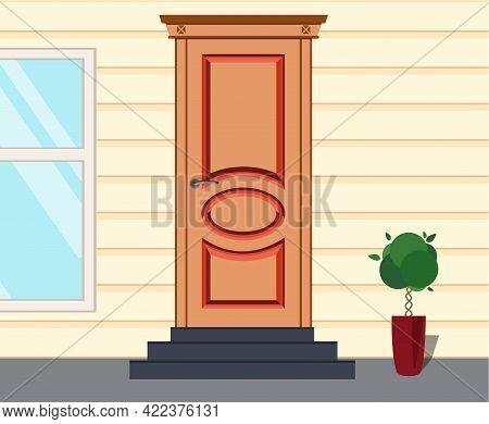 Front Red Door House, Office Or Store. Exterior Entrance Door,